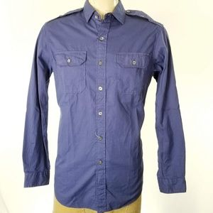 Polo Ralph Lauren Military Sport Shirt Blue Cotton